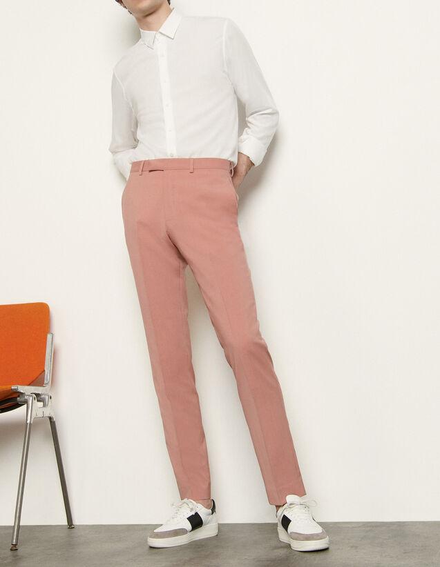 산드로 맨 바지 Sandro Pantalon de costume en laine froide SHPPA00376 Vieux Rose