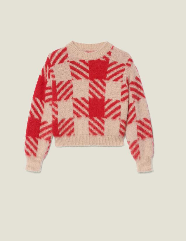 산드로 헤어리 체크 자카드 스웨터 (같이 펀딩 유인나 착용) Sandro Pull Poilu En Jacquard Carreaux SFPPU00379 Rouge/Beige
