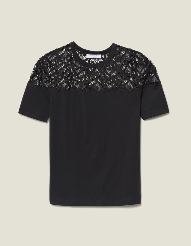 산드로 Sandro T-Shirt Avec Empiecement En Guipure SFPTS00310 Noir - T,Noir