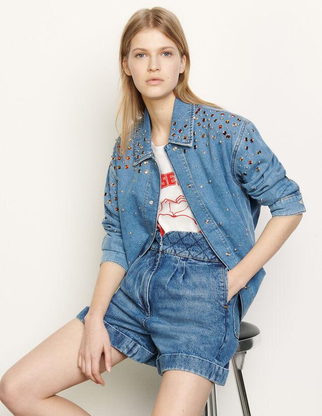 산드로 Sandro Chemise en jean A strass multicolores SFPCM00044 Bleu jean,Bleu jean