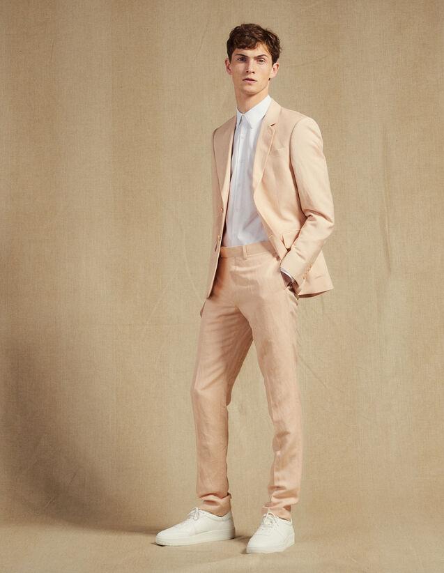 산드로 옴므 수트 팬츠, 정장 바지 Sandro Pantalon De Costume En Lin Melange P6460S Rose pule
