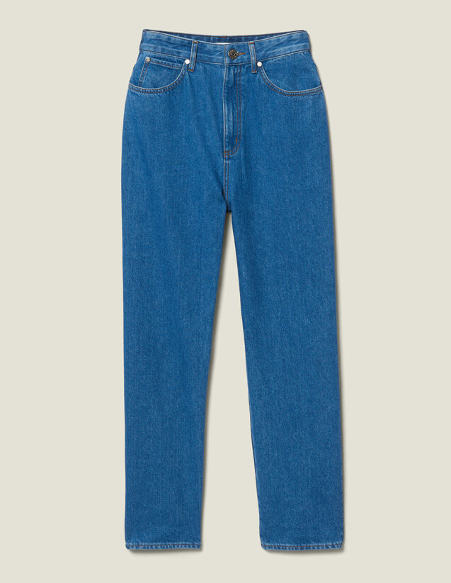 산드로 Sandro Jean Coupe Mom Bicolore SFPJE00133 Bleu denim,Bleu denim