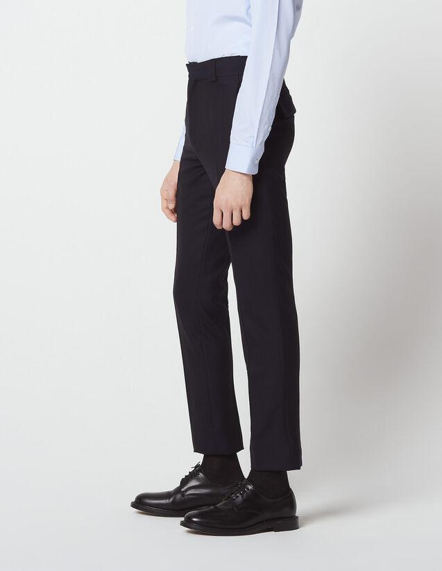 산드로 SANDRO Hopsack Pantalon de costume en pique de laine,Marine