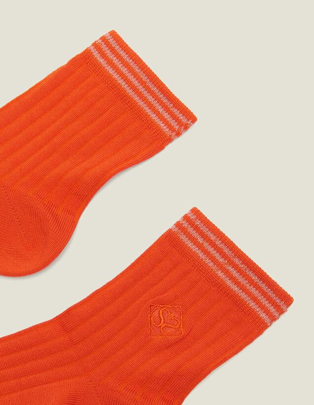 산드로 양말 Sandro Chaussettes en coton avec broderie 3607171480210 Chaussettes en coton avec broderie,Orange Vermillon