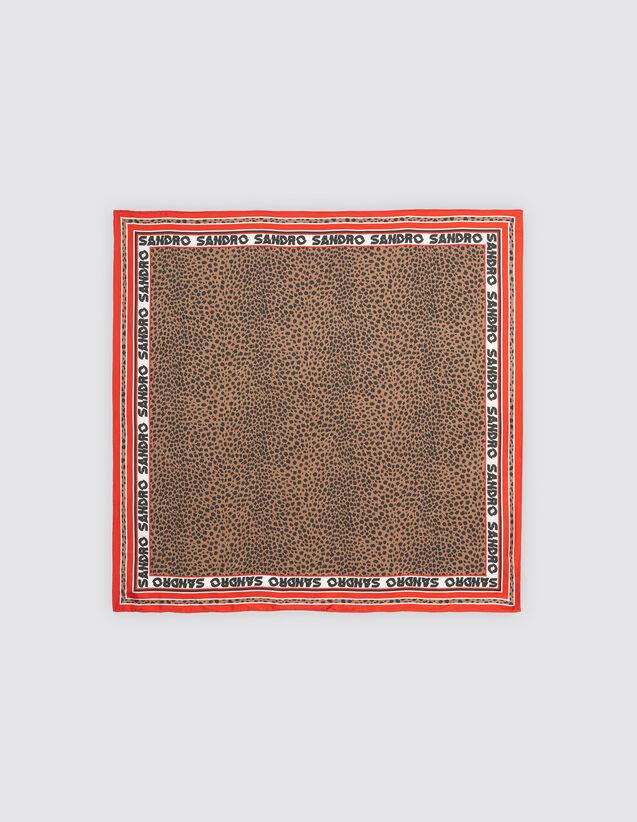 산드로 SANDRO Oelle Foulard carre en soie imprime leopard,Rouge