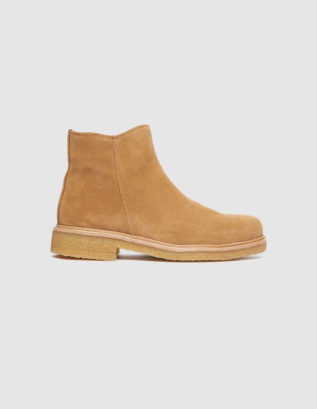 산드로 SANDRO Suede Boots en cuir velours,Beige
