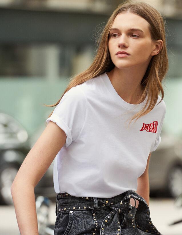 산드로 반팔 티셔츠 Sandro T-Shirt En Coton A Message SFPTS00305 Blanc,Blanc