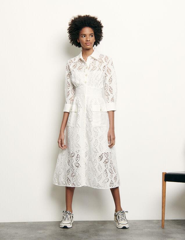 산드로 Sandro Robe longue chemise en broderie SFPRO01007 blanc,blanc