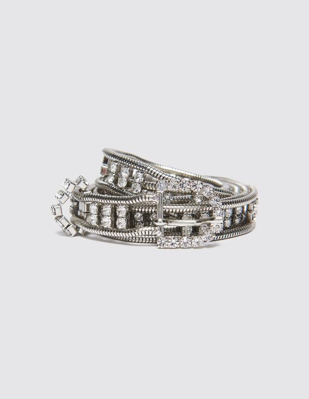 산드로 SANDRO Hana Ceinture bijoux a strass,Argent
