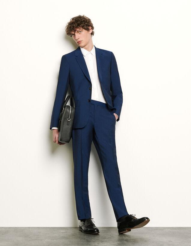 산드로 맨 바지 Sandro Pantalon de costume en laine et mohair SHPPA00362 Bleu