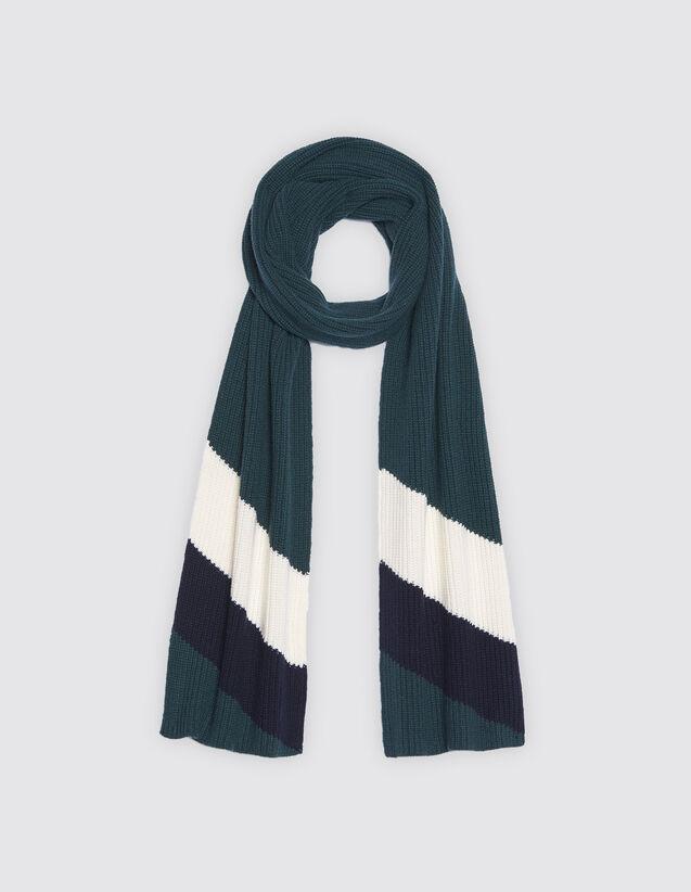 산드로 SANDRO Ileen Echarpe en laine tricolore,Ecru/Noir/Vert