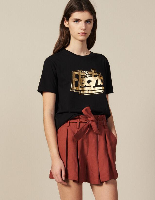 산드로 반팔 티셔츠 Sandro T-Shirt A Message En Coton SFPTS00234 Noir,Noir