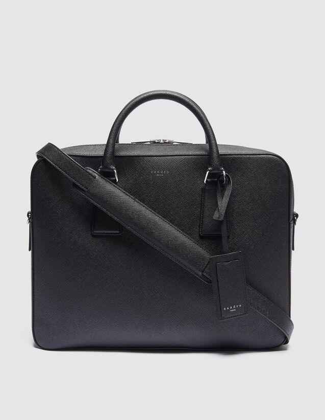 산드로 SANDRO Large Large briefcase en cuir saffiano,Noir