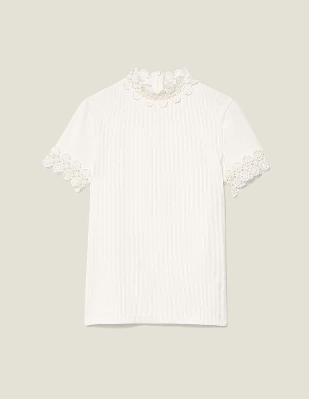 산드로 Sandro T-Shirt A Col Montant Borde De Guipure SFPTS00296 Ecru - T,Ecru