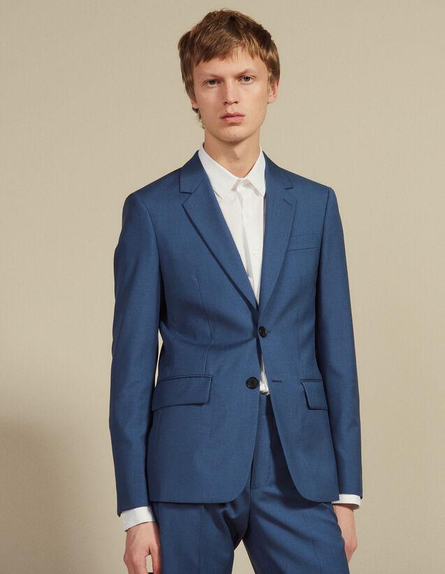 산드로 옴므 울 수트 자켓 - 블루 그레이 Sandro Veste de costume en laine V7356S,Gris Bleute