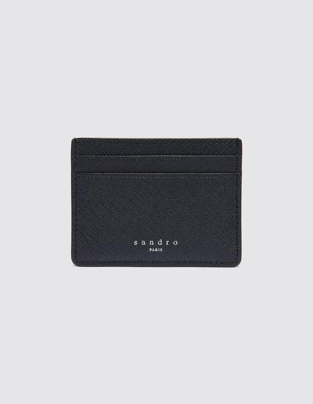 산드로 SANDRO Older Porte cartes en cuir,Noir