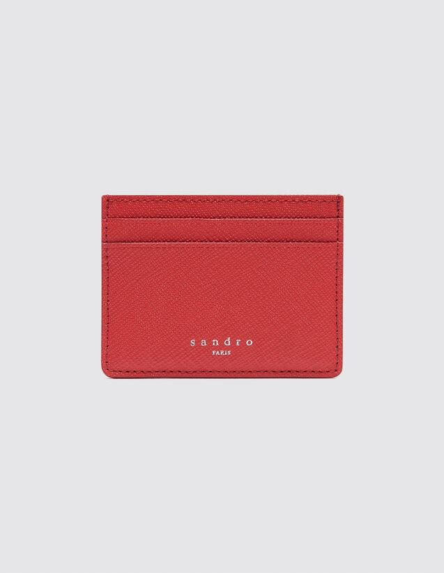 산드로 SANDRO Older Porte cartes en cuir,Rouge