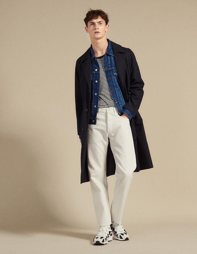 산드로 옴므 롱 트렌치코트 - 네이비 Sandro Trench-coat long en coton M9768S,Marine
