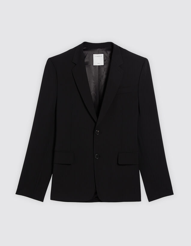 산드로 울 수트 자켓 SANDRO Black Veste de costume 100% laine,Noir