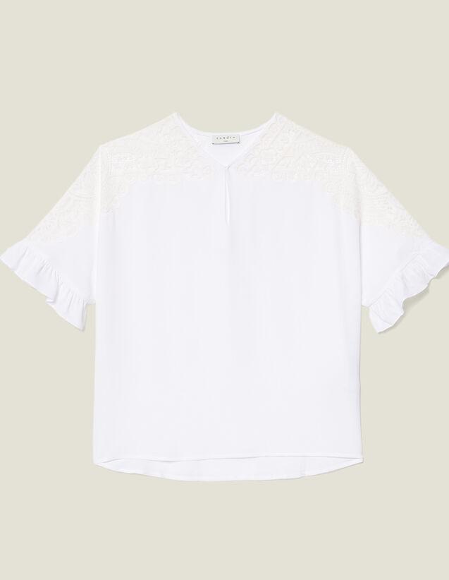 산드로 Sandro Top avec empiecement de dentelle E11765E Blanc,Blanc