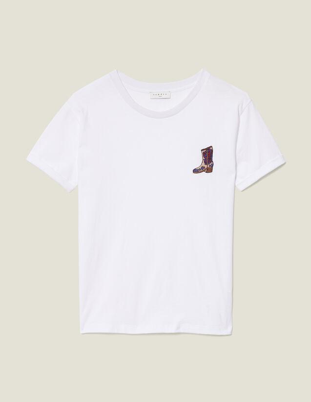 산드로 Sandro T-Shirt A Patch Brode SFPTS00322 Blanc - T,Blanc