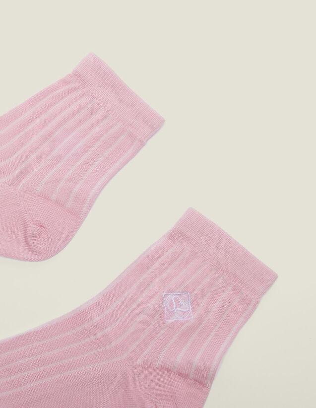 산드로 양말 Sandro Chaussettes en coton avec broderie 3607171480227,Rose pastel