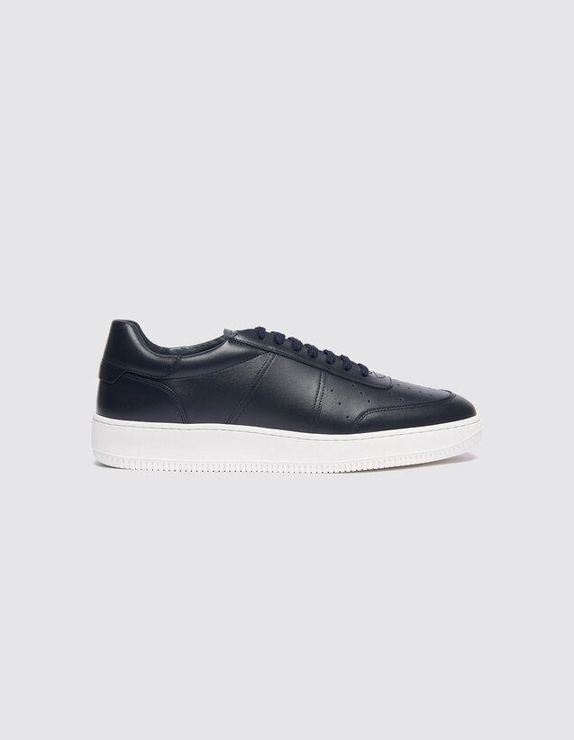 산드로 SANDRO Solid Sneakers cuir avec semelle contrastante,Marine