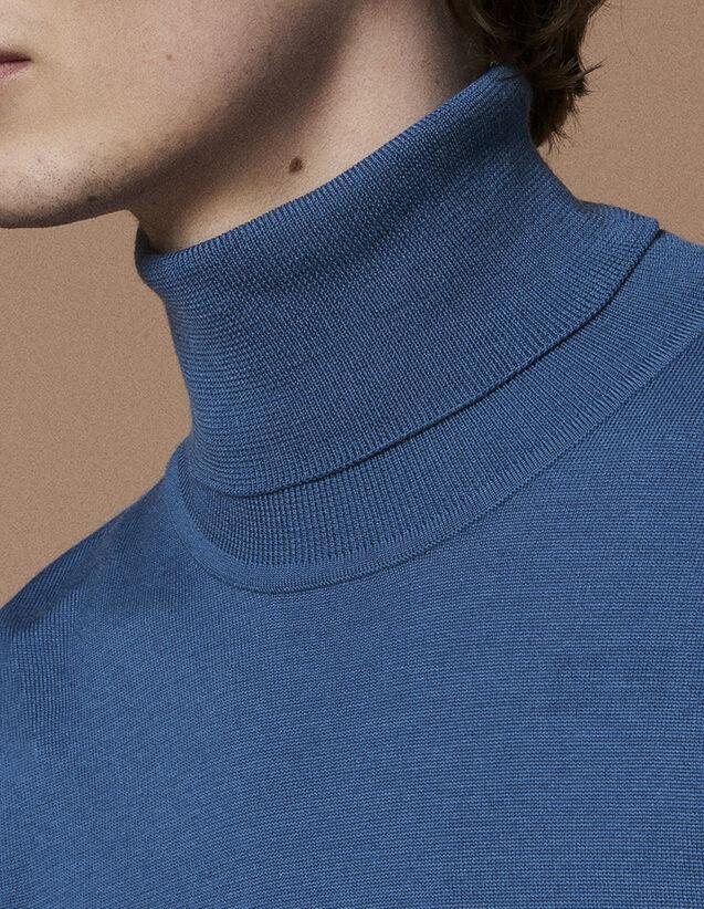 산드로 터틀넥 울 스웨터 - 라이트 블루 (하정우 착용) SANDRO Turtleneck Pull col roule en laine, Bleu Acier