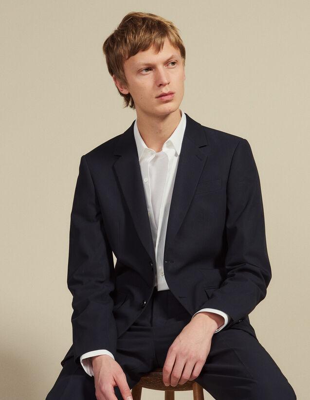 산드로 옴므 코튼 수트 자켓 - 잉크 Sandro Veste de costume en coton V7352S,Encre