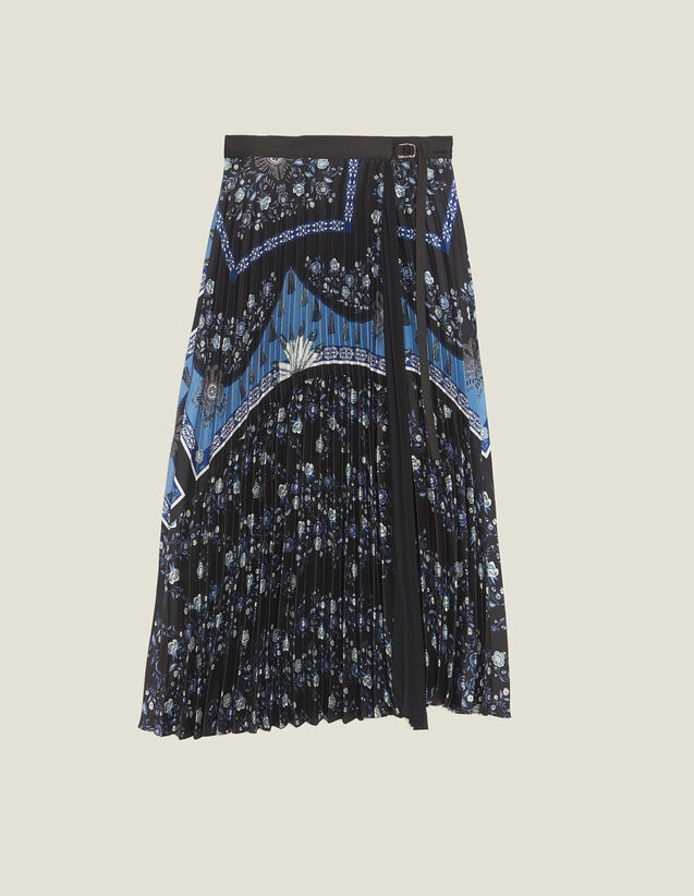 산드로 플리츠 치마 Sandro Jupe longue portefeuille plisse soleil J4333E Bleu,Bleu
