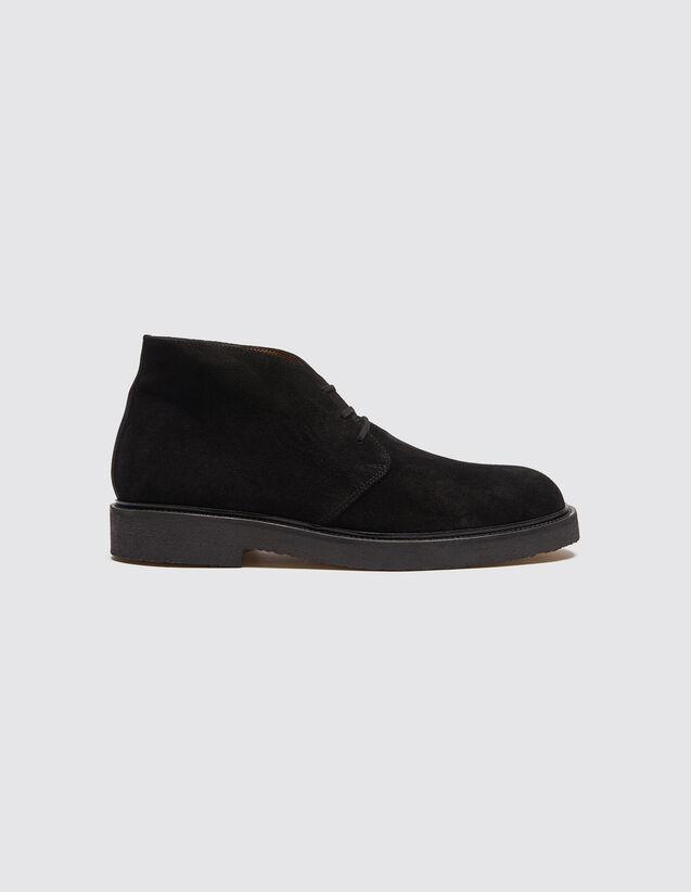산드로 SANDRO Esert Desert Boots en cuir velours,Noir