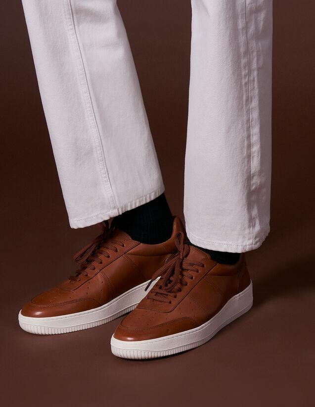 산드로 SANDRO Solid Sneakers cuir avec semelle contrastante,Cognac