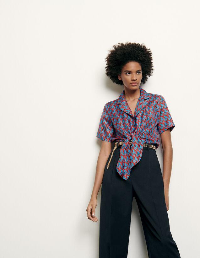 산드로 Sandro Chemise pyjama en soie imprimee SFPCM00198 Bleu/Rouge,Bleu/Rouge