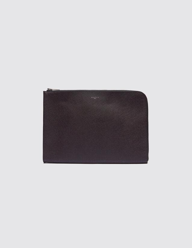 산드로 SANDRO Bicolor Porte documents zippe en cuir Saffiano,Bordeaux/Noir
