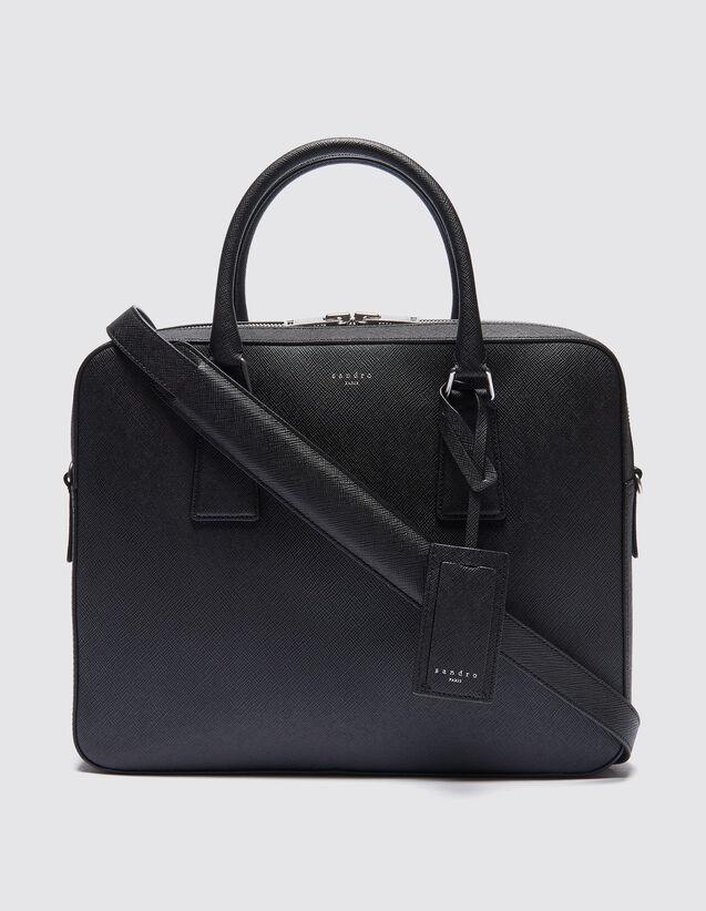 산드로 SANDRO Owntown Briefcase en cuir saffiano,Noir