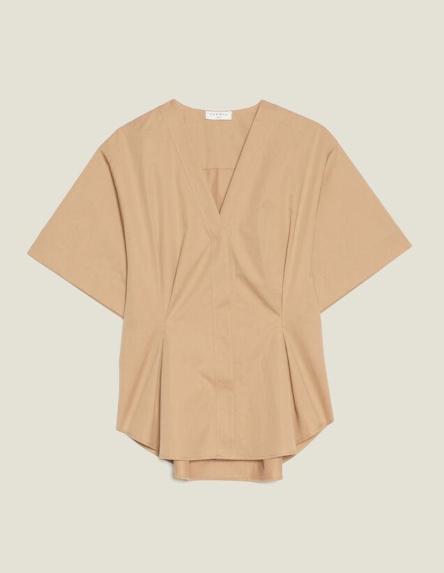산드로 100% 코튼 반팔 블라우스  - 베이지 Sandro Chemisier en coton A manches courtes C11768E,Beige