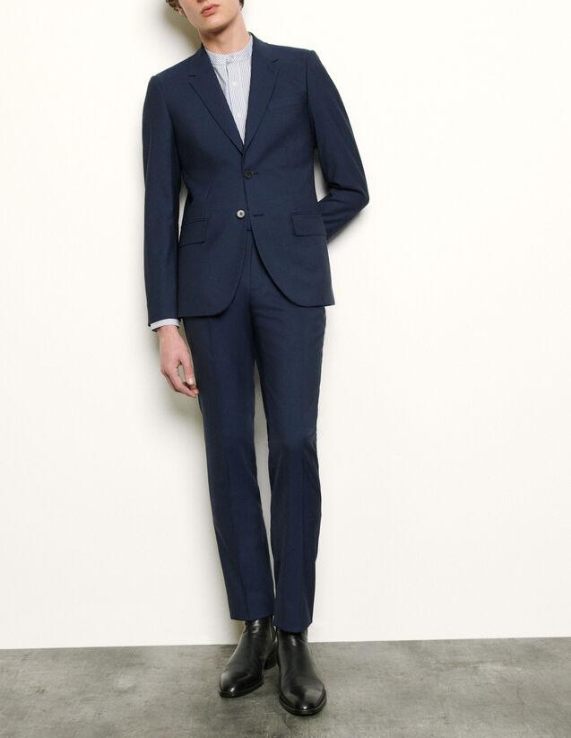 산드로 맨 바지 Sandro Pantalon de costume en laine froide SHPPA00374 Bleu