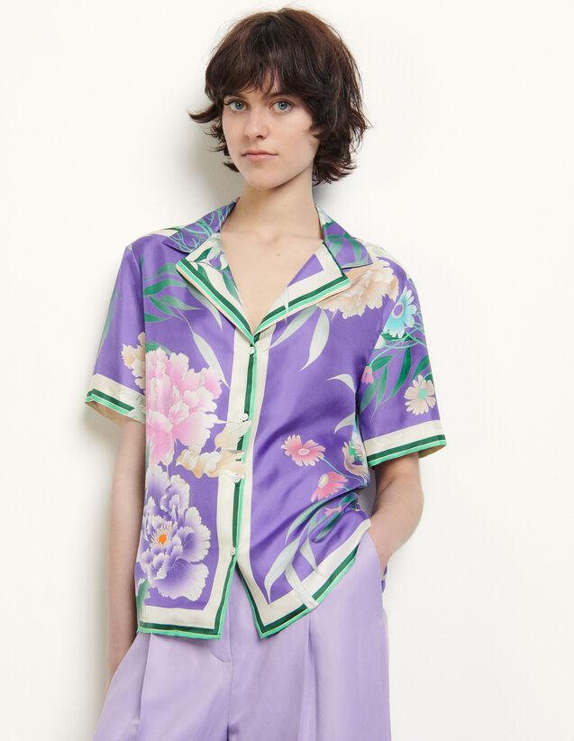 산드로 Sandro Chemise pyjama en soie imprimee SFPCM00278 Violet,Violet