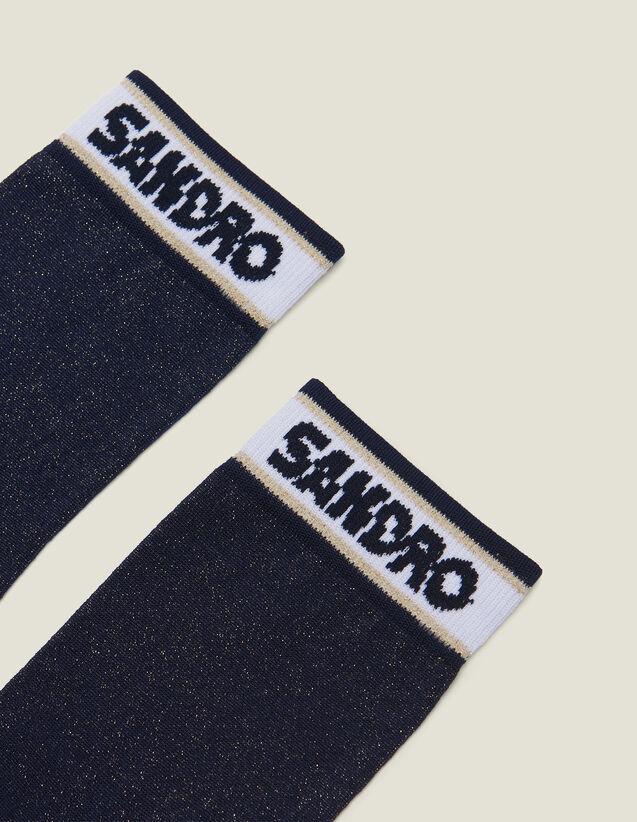 산드로 양말 Sandro Chaussettes lurex avec logo AC2367E Marine