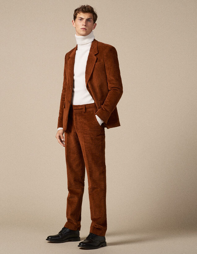 산드로 SANDRO Rown Pantalon de costume en velours cotele,Marron