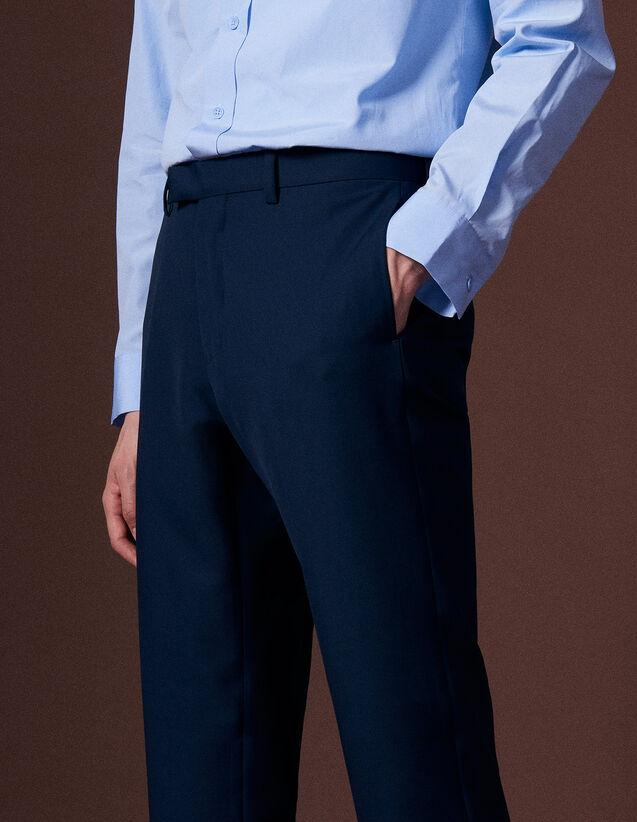 산드로 옴므 팬츠 SANDRO Blue Pantalon de costume en laine vierge,Bleu