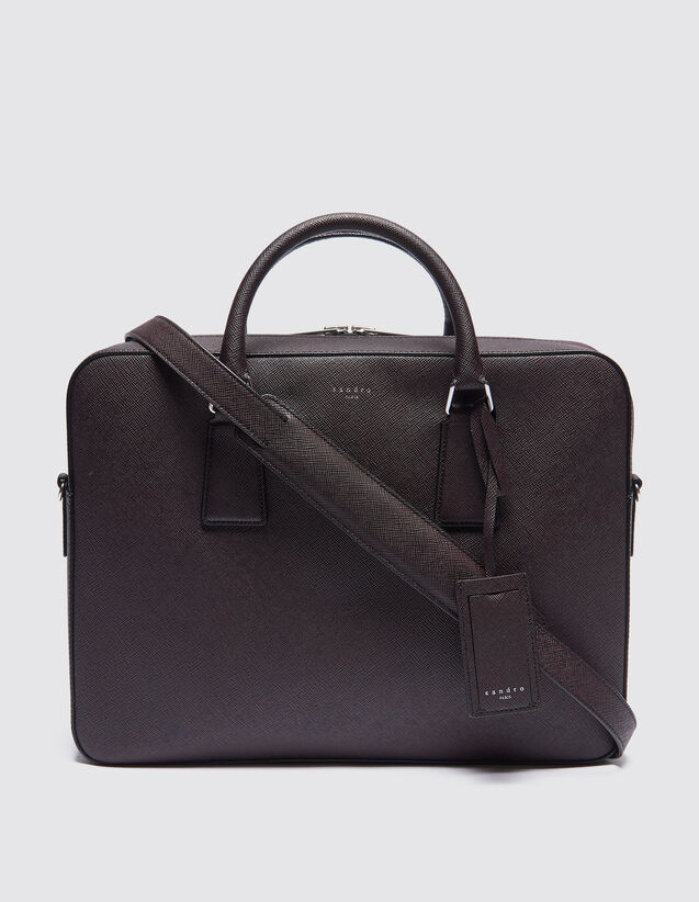 산드로 SANDRO Large Bicolor Large briefcase en cuir saffiano,Bordeaux/Noir