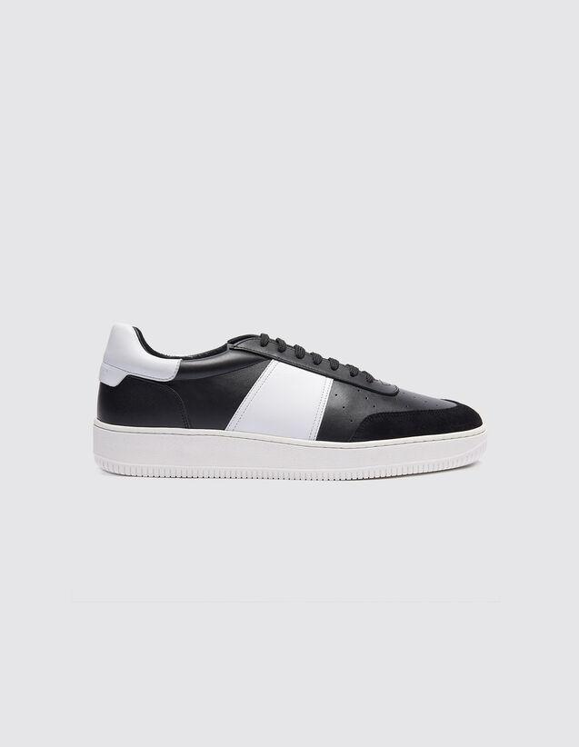 산드로 SANDRO Magic Sneakers bicolores en cuir,Noir