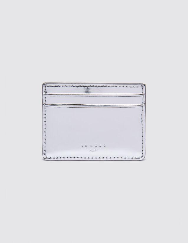 산드로 SANDRO Metallic Porte cartes en cuir vernis metallise,Argent
