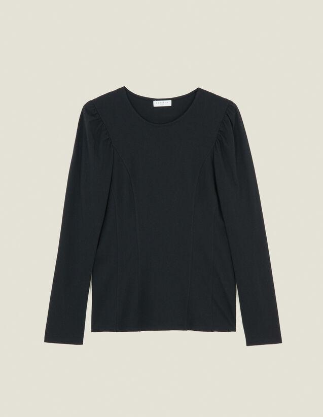 산드로 Sandro T-Shirt En Jersey A Decoupes SFPTS00262 Noir,Noir