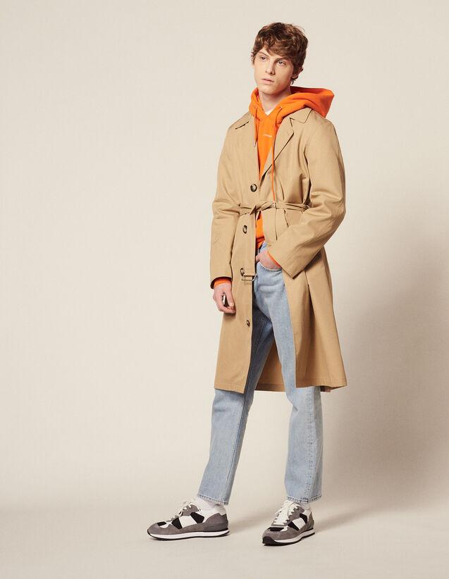 산드로 옴므 롱 트렌치코트 - 베이지 Sandro Trench-coat long en coton M9768S,Beige