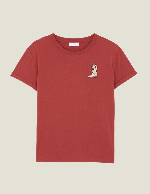 산드로 Sandro T-Shirt A Patch Brode SFPTS00345 Bordeaux - T,Bordeaux