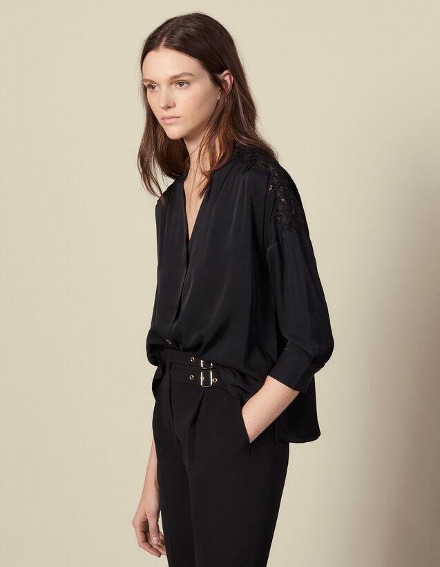 Blouse à empiècement en guipure : Tops & Chemises couleur Noir