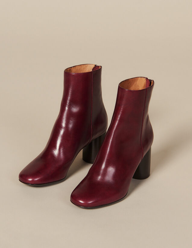 Bottines En Cuir : Toutes les Chaussures couleur Bordeaux
