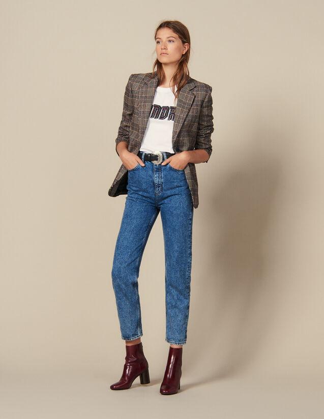 Jean délavé neige : Jeans couleur Bleu jean